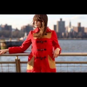 Vintage 60's Red / Tan Patchwork Toggle Jacket